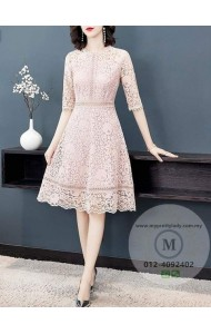 BDS128666X Half sleeves crochet lace dress