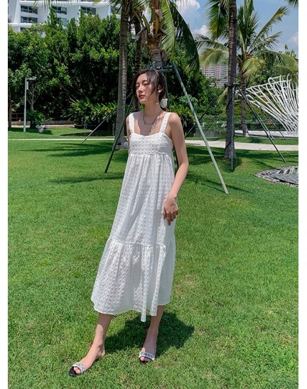 KDS122319H White embroidery dress