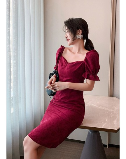 KDS125519H Puff sleeves pencil dress