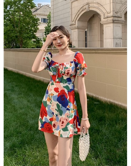 KDS128909H Floral puff sleeves dress