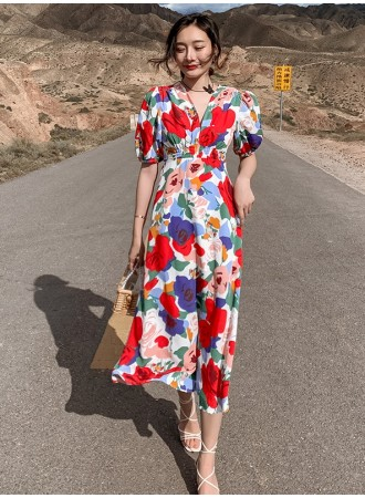 KDS121039R V neck puff sleeves maxi dress