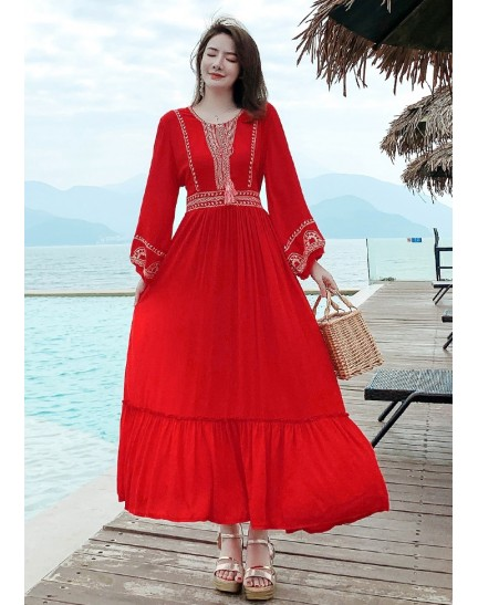 KDS019689R Embroidery red maxi dress