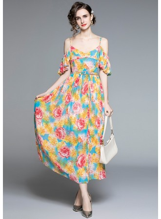 BDS012418A Premium off shoulder floral dress
