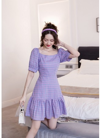 KDS019811H Purple checker dress