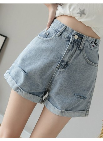 KPT011727J Mickey roll up denim shorts