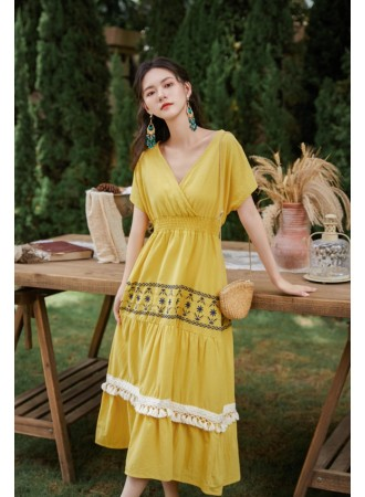 KDS010381D V neck ethnic embroidery dress