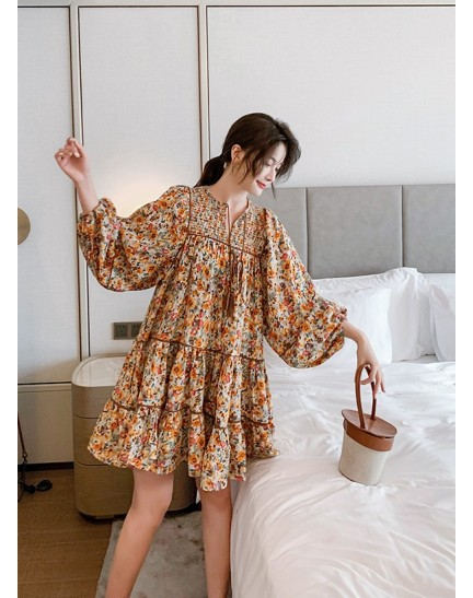 KDS029519H Puff sleeves floral dress