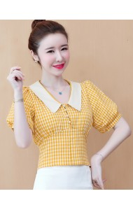 KTP031356X Yellow checker cropped top