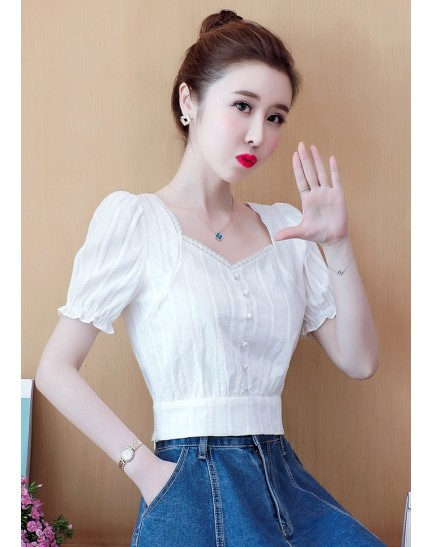 KTP056256S Puff sleeves white blouse