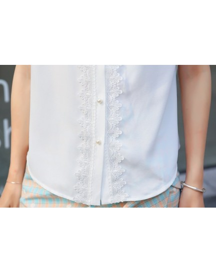 KTP08061353S Chiffon lace shirt with bow