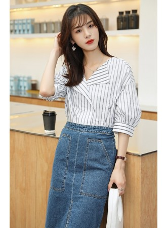 KTP12680H V neck stripes shirt