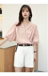 KTP12580H V neck puff sleeves shirt