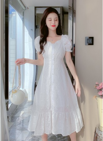 KDS032028Y Embroidery white dress