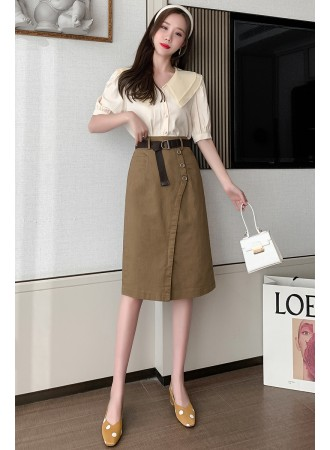 Cotton belted skirt