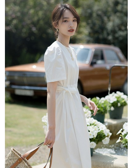 KDS090512D Cotton puff sleeves dress REAL PHOTO