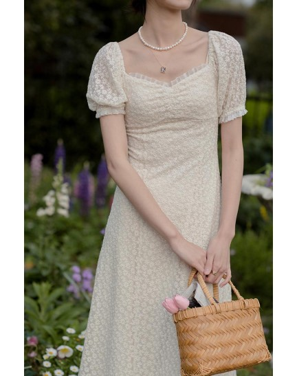 KDS092512D Premium embroidery midi dress REAL PHOTO
