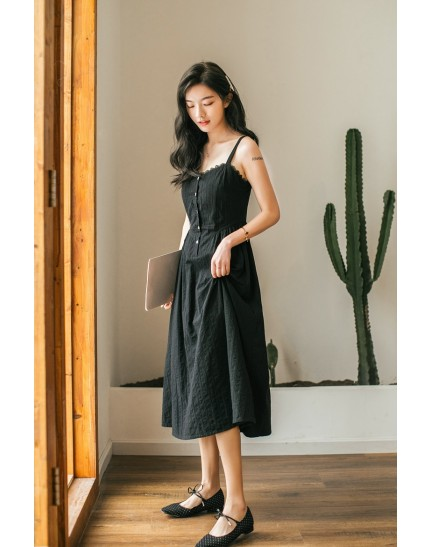 KDS09329D Embroidery midi dress REAL PHOTO