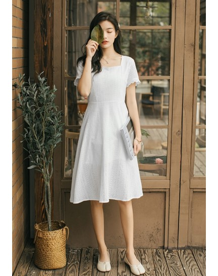 KDS09808D Embroidery flared dress REAL PHOTO
