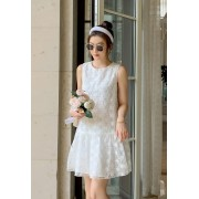 KDS099377Y Embroidery lace dress REAL PHOTO