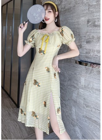 KDS108595Y Embroidery checker dress