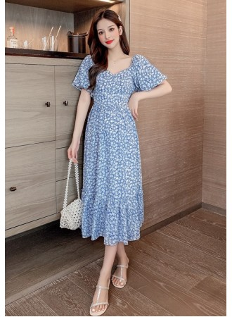 KDS109939Q Puff sleeves blue floral dress